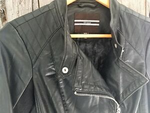 New Black Faux Leather Jacket Mint Condition