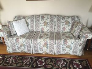 Flower design couch and loveseat