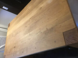 Crate and barrel dinning table, 1bench & 2 chairs