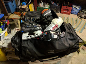 Full hockey bag and equipment for novice player