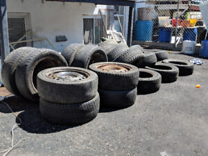 19 Used tires - sizes 14, 15, 16... 8 of them with rims. $200