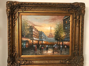 Paris themed wood framed canvas paintings