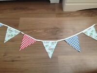 Train and gingham print fabric boys bunting