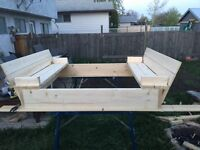 Custom Wood Sandbox with Benches