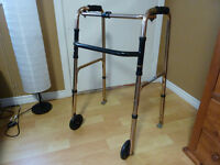 Folding Walker with Wheels and Rear Skies