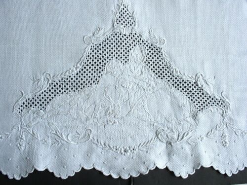 White Antique Madeira Hand-Embroidered Hand Towel, Figural Court Couple Mono EMM