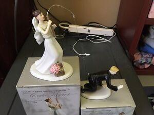 "Wedding Fishing bride & ""Hooked"" groom cake toppers"