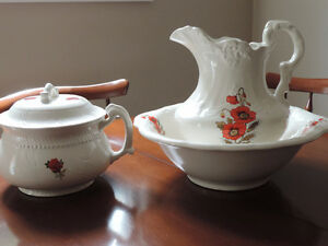 old fashioned pitcher, basin and pee pot
