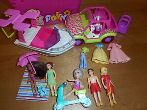 5 POLLY POCKET + Mini Bateau Scooter Voiture RARE Lot 2