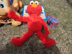 elmo, ball poppers, activity table, shape sorter, toy stand