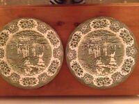Pair English Ironstone Hunting Scene Decorative Plates