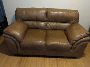 Beautiful Toffee Color Genuine Leather Loveseat