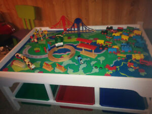 Train table with 6 large bins - all track, accessories & trains