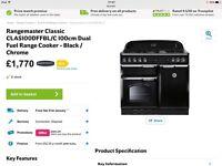 Range cooker Rangemaster 100cm Black Dual Fuel.