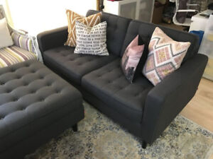 EQ3 Reverie Loveseat and Ottoman