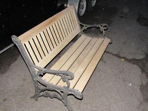 Cast Iron and Oak Benches