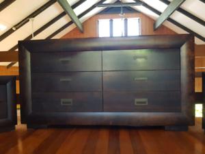 Timber bedroom set, large dresser with 2 x bedsides.