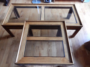 Oak and Glass Coffee table and matching end table