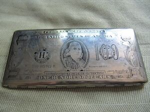 stainless cigarette 1940's $100 dollar american bill case West Island Greater Montréal image 1