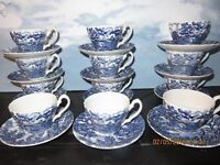 Vintage Cups and Saucers by Myott, England - Lot of 12