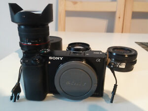 Sony camera a6000 + 3 lenses + accessories