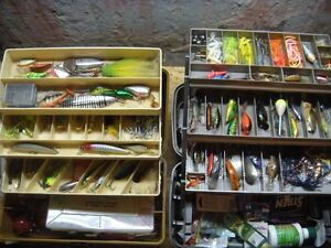 2, 3 tray fishing tackle boxes loaded with lures, line, plastics