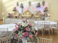 Floral Wedding Decor - Asian Wedding Stages - Mehndi Stages - Centrepiece Hire