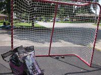 Steel Hockey Net with New Blocker and Glove