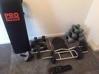 Weights Dumbbells barbells straight bar z bar York gym bench ab roller