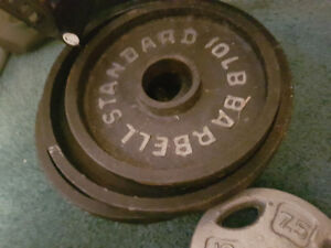 Weights for sale with bench and Olympic size barbell