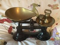 Antique weigh scales with weights