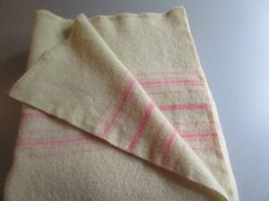"""Couverture Laine 100%  Wool Blanket - Pink Stripes 64""""X 80"""""""