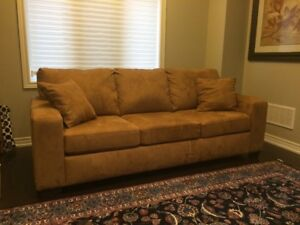 """""""Caramel""""  suede pull-out couch"""
