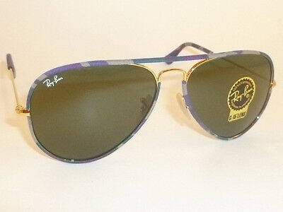 New RAY BAN Sunglasses FULL COLOR Camouflage Gold RB 3025JM 172  G-15 Green