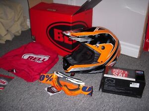 Bell motocross helmet orange ,black and goggles ,2017 never used