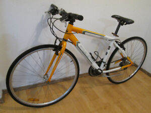 Yellow and White Supercycle Tempo 21 Speed Hybrid Bike