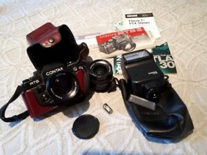 Contax RTS II, Zeiss lenses, Contax flash etc.  AS NEW