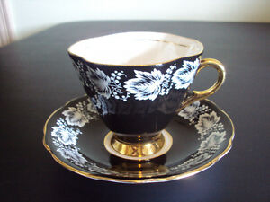 "Vintage Tea Cup and Saucer, ""Windsor"" 3 ¼"" Black background,"