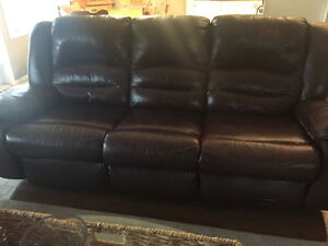 Burgundy leather double recliner couch