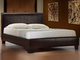 FREE DELIVERY // BLACK BROWN DOUBLE LEATHER BED FRAME WITH 11 INCH SUPER ORTHOPEDIC MATTRESS
