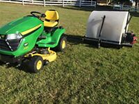 john Deere x300 lawnmower and grass / leave catcher / sweeper