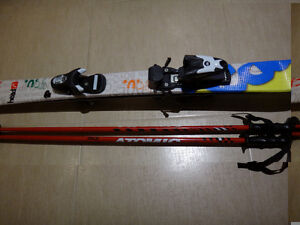 107 cm twintip skiis and poles for child