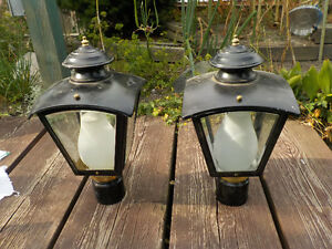 PAIR OF METAL POST BLACK LANTERN