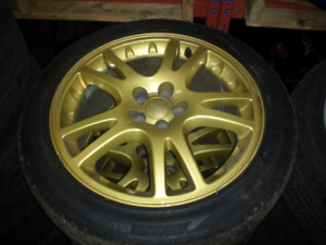 Subaru Impreza STi GDB OEM Rims Wheels And Tires V7 5x100