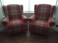 2x Next winged sterling check pattern armchairs