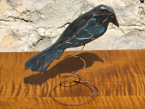 Hand Carved and Painted Wooden Cowbird on Wire Spring, Folk Art