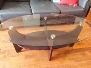 Glass top oval coffee table