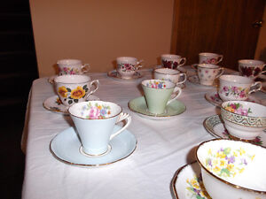 16 sets of Cups & Saucers all Bone China made in UK