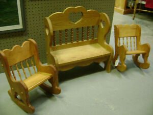 Dolls wood chairs and bench