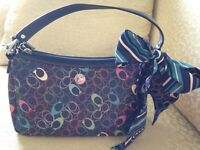 Beautiful colorful Coach purse with matching scarf